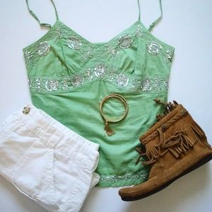 American Eagle green and silver sequined boho tank